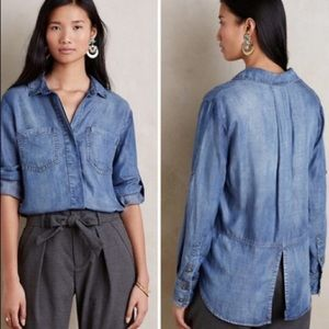 Cloth & Stone Anthropologie Button Down V-Neck Top